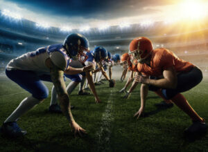 Footballer im Lineup Head to Head American Football